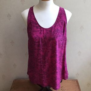 Joie Silk Pink Floral Lace Racerback Tank Size S